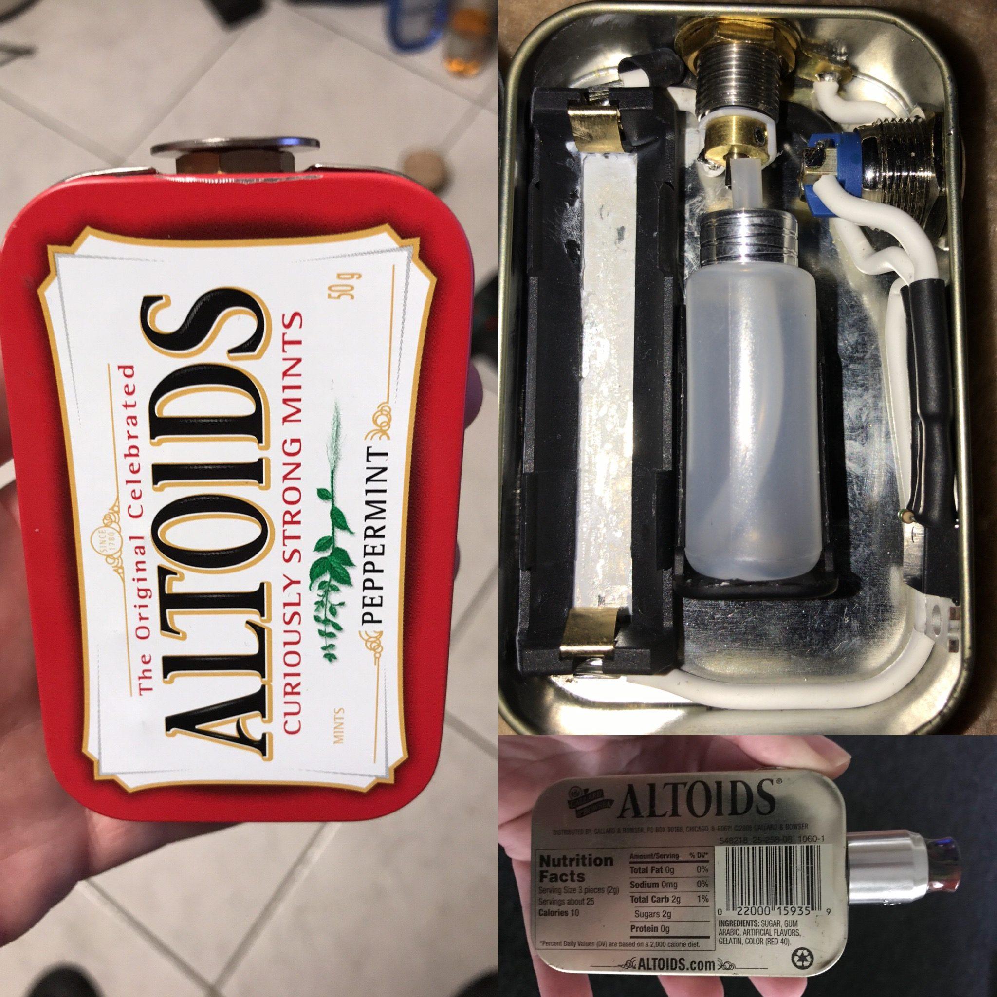 Die Altoids Pfefferminz Dose als ein 1s squonker mod