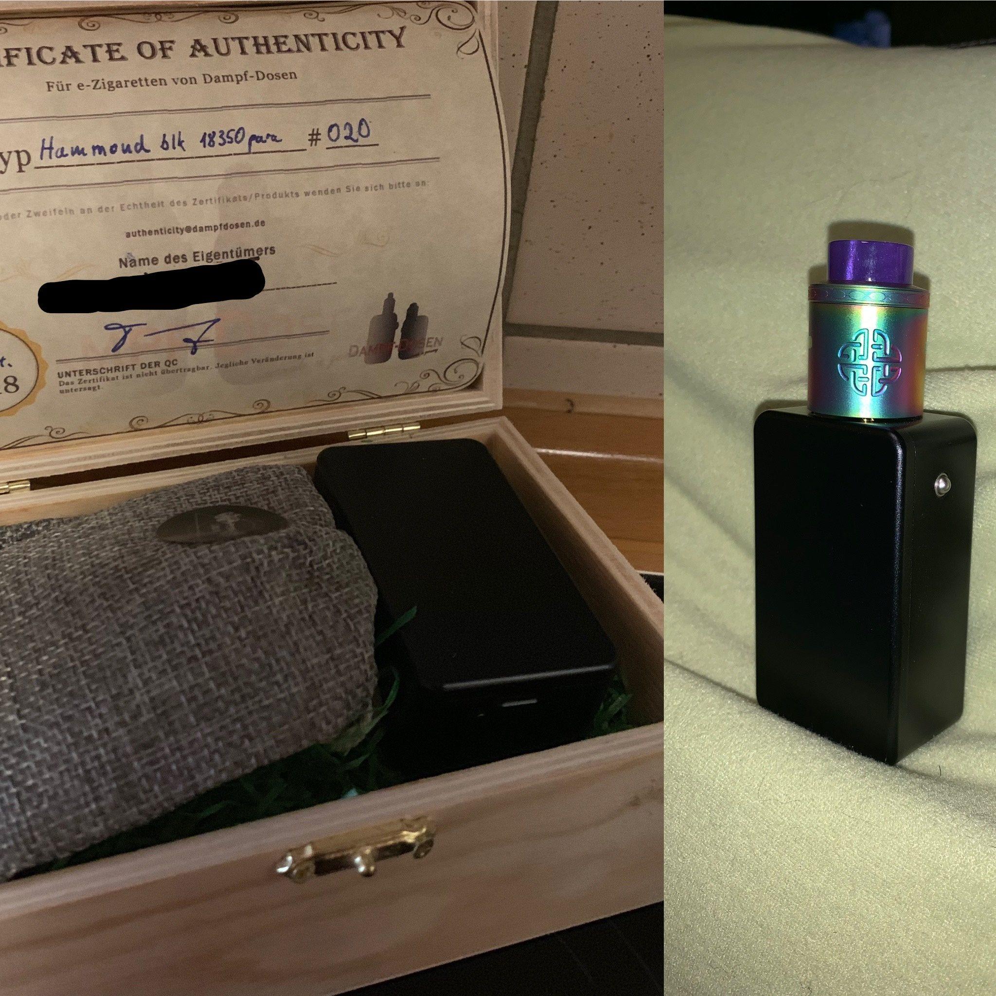 Diese Hammond Box ist mit zwei parallelen18350 Batterien ausgestattet.