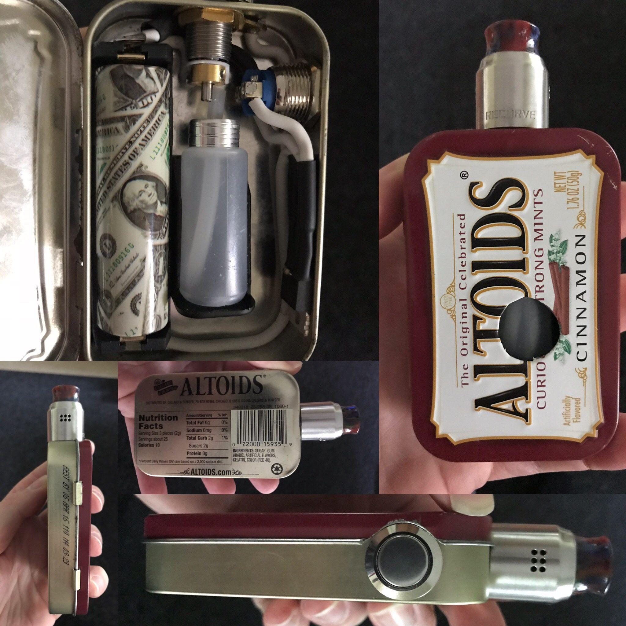 Die Altoids Cinnamon Dose zu einem 1s squonker mod umgebaut